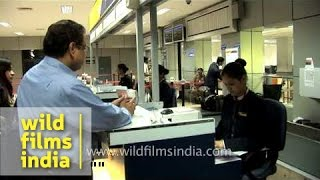 Passengers at Jet Airways check-in counter, Delhi airport