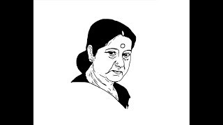 How to draw Sushma Swaraj face pencil drawing step by step