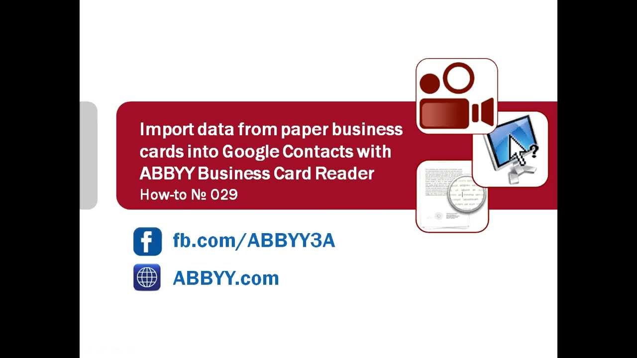 How-to No. 29 — Import contact details from paper business cards ...