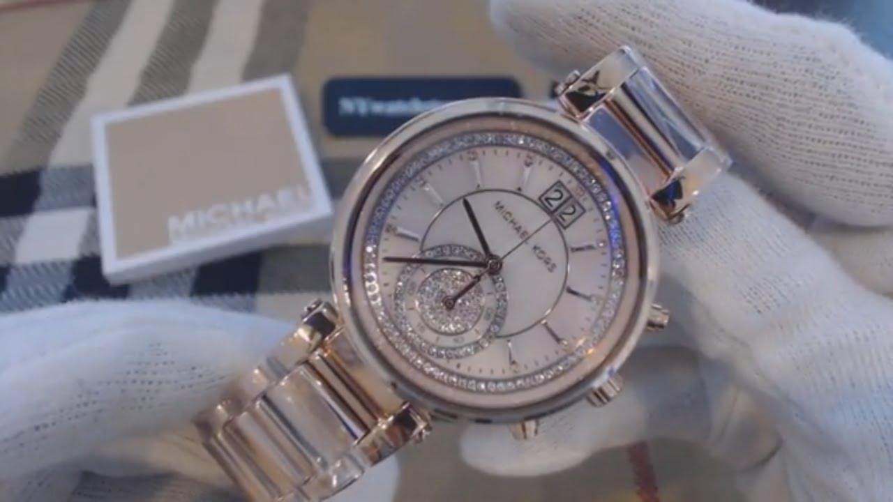 c6166398658fc Women s Michael Kors Sawyer Rose Gold Chronograph Crystalized Watch MK6282