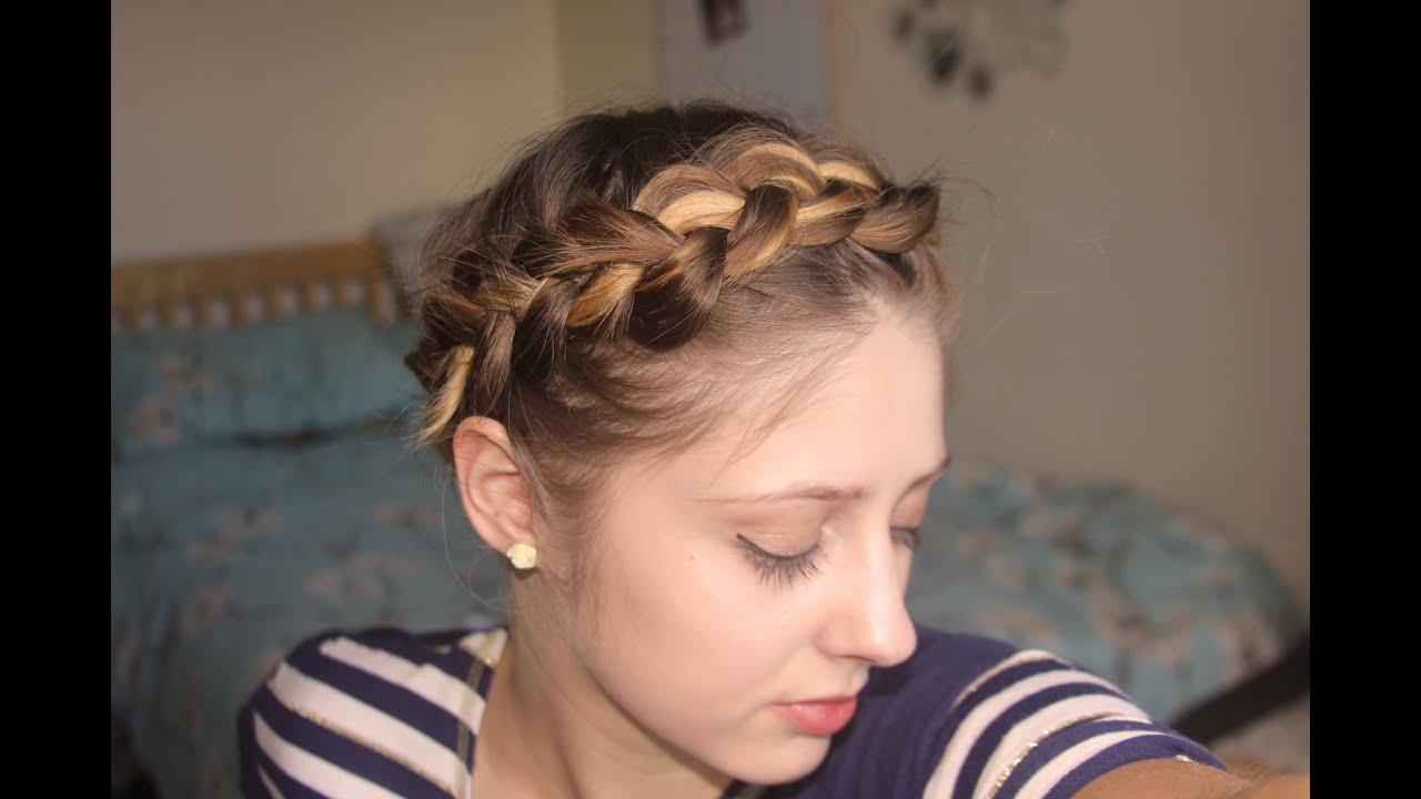 Short fine hair tutorial Easy Crown Braid Plait