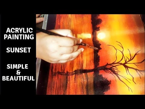 Easy Acrylic Painting | Sunset | For Beginners