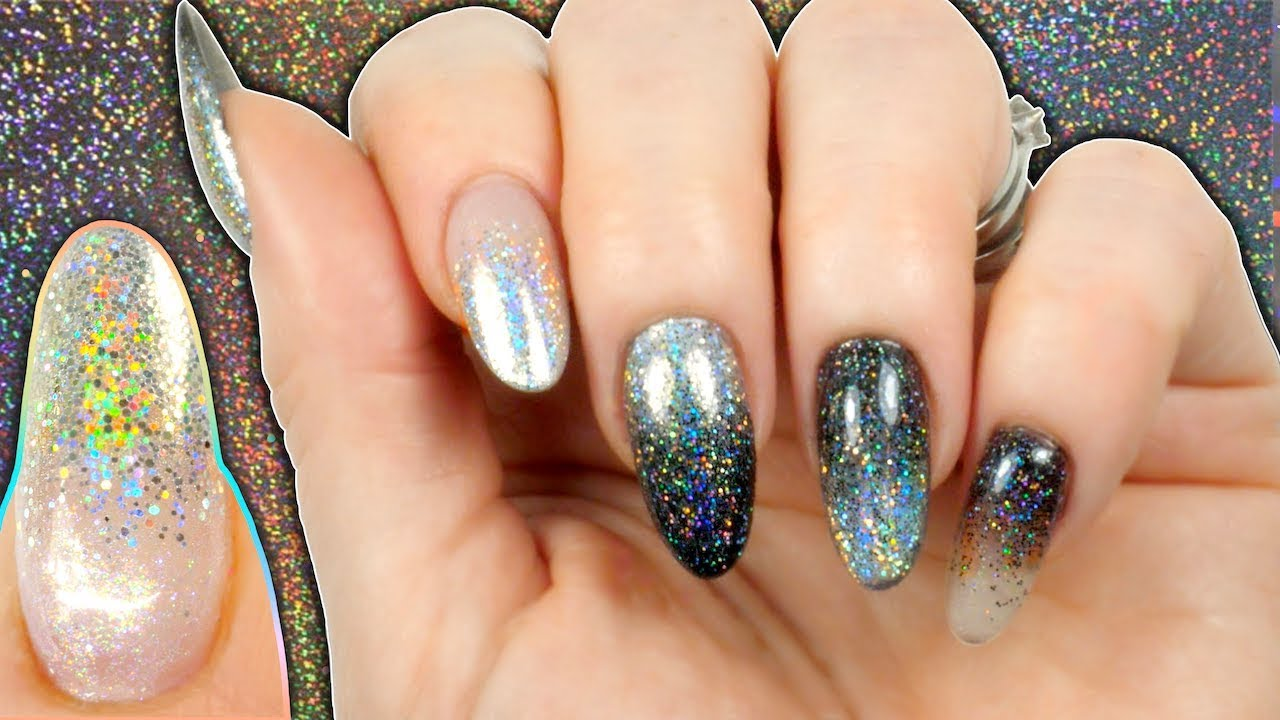 How To Create Glitter Gradient Glitter Fade Christmas Holo Nail