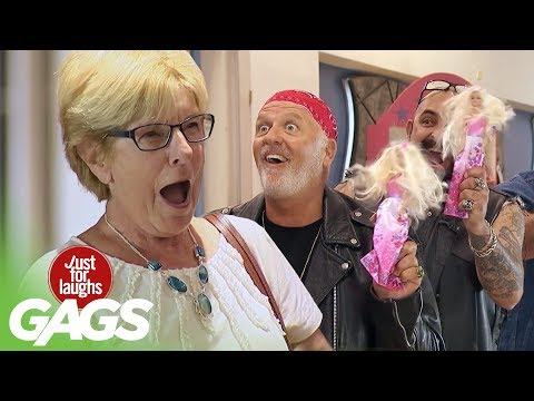 Bikers Buy Barbies Prank! - Just For Laughs Gags