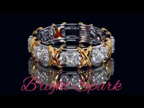 Золотое кольцо с иксами в стиле Тиффани от Bright Spark
