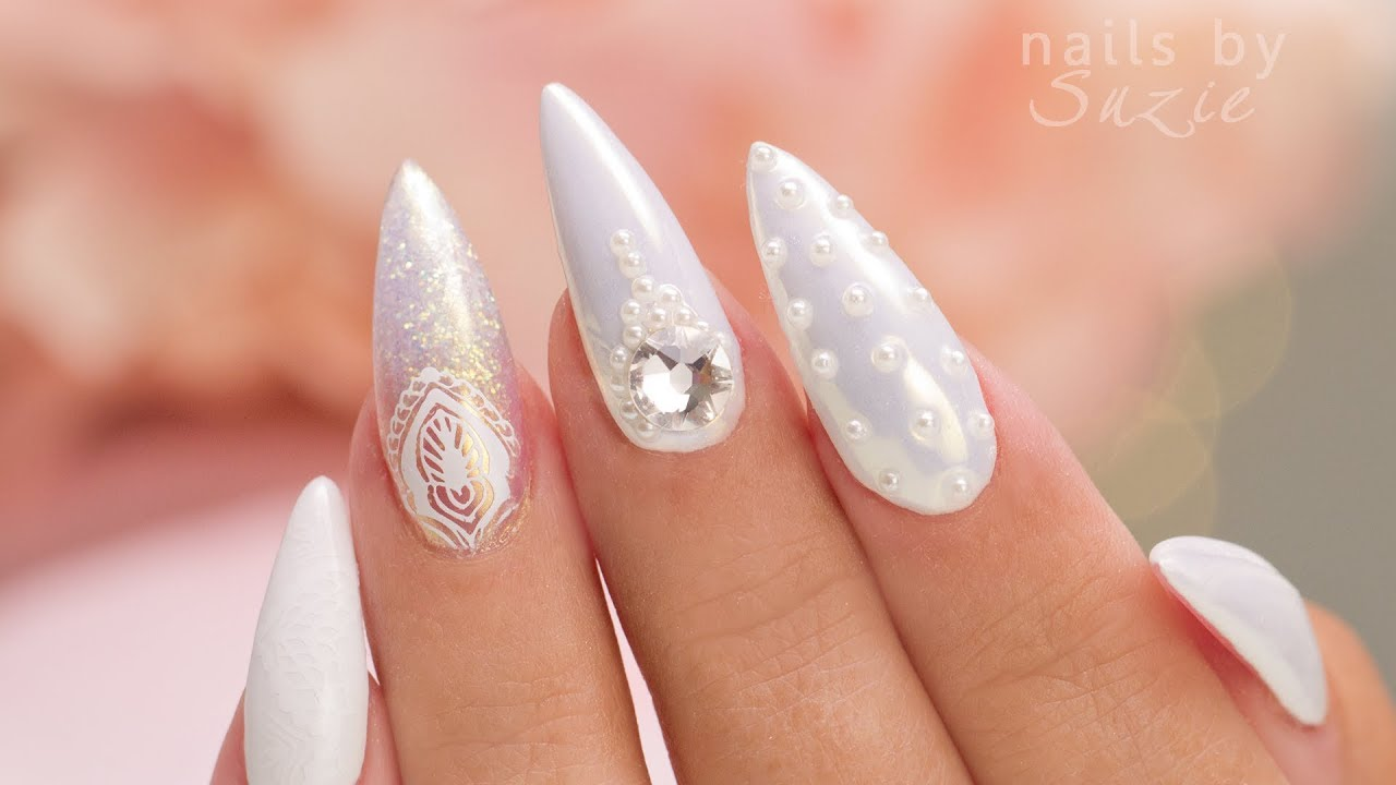 White On White 5 Nail Art Designs Youtube