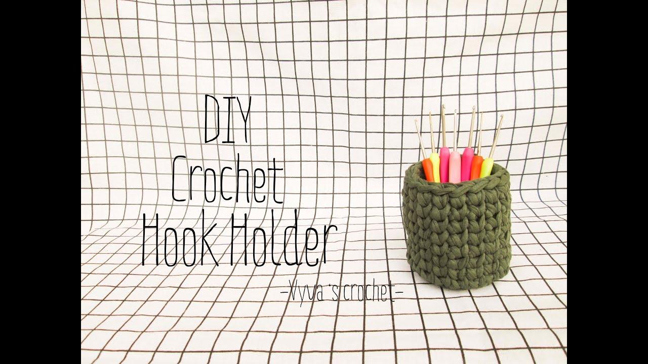 DIY Crochet Hook Holder T-shirt yarn | Hướng dẫn móc ống đựng bút – kim móc bằng sợi vải
