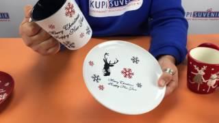 Видеообзор набора из тарелки и чашки «С новым годом!»