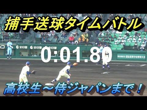 捕手送球タイム計測!高校強肩No.1は!?強豪社会人~侍JAPAN捕手まで!