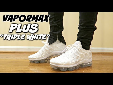 size 40 76ade 5411b (MORE COMFY THAN UB??) VAPORMAX PLUS TRIPLE WHITE REVIEW & ON FEET