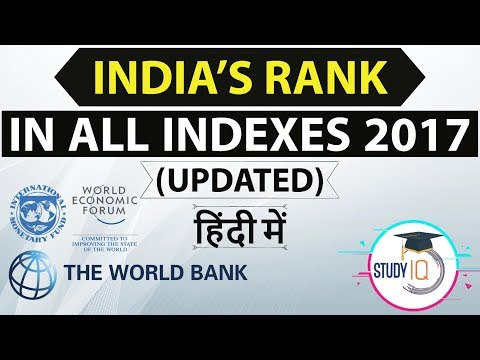 India's rank in various Indexes 2017 - UPDATED and Latest - Current affairs IBPS / RRB / SSC / UPSC