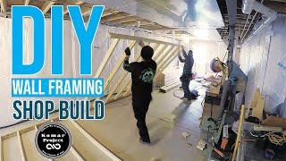 BASEMENT SHOP RENOVATION Episode #1 Wall Framing - DIY