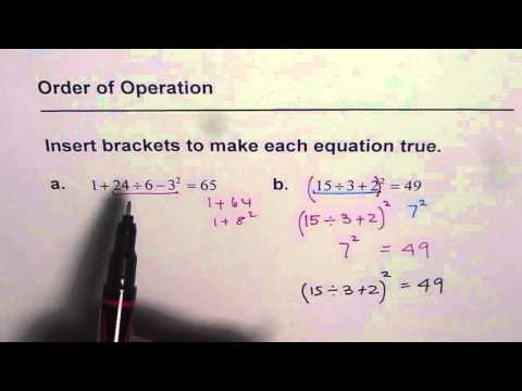 Insert Brackets to Make Equation True Test Order of Operation