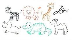 Ganz einfach Tiere zeichnen 🐪 Zoo schnell malen 🐊 How to Draw Animals 🐫 как се рисуват лесни живо