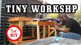 Small workshop and workbench in a tiny outdoor space I built a DIY, homemade, workbench. It has a table saw attached to it. So the