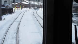 AIZUマウントエクスプレスの東武日光行きが会津若松駅を発車(車内より)