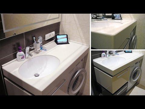 привлекательный умывальник с искусственным камнем в маленькую ванную комнату (душевую)