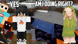 Sapnap Teaches Drista How to Beat Minecraft Ft. George and Badboyhalo