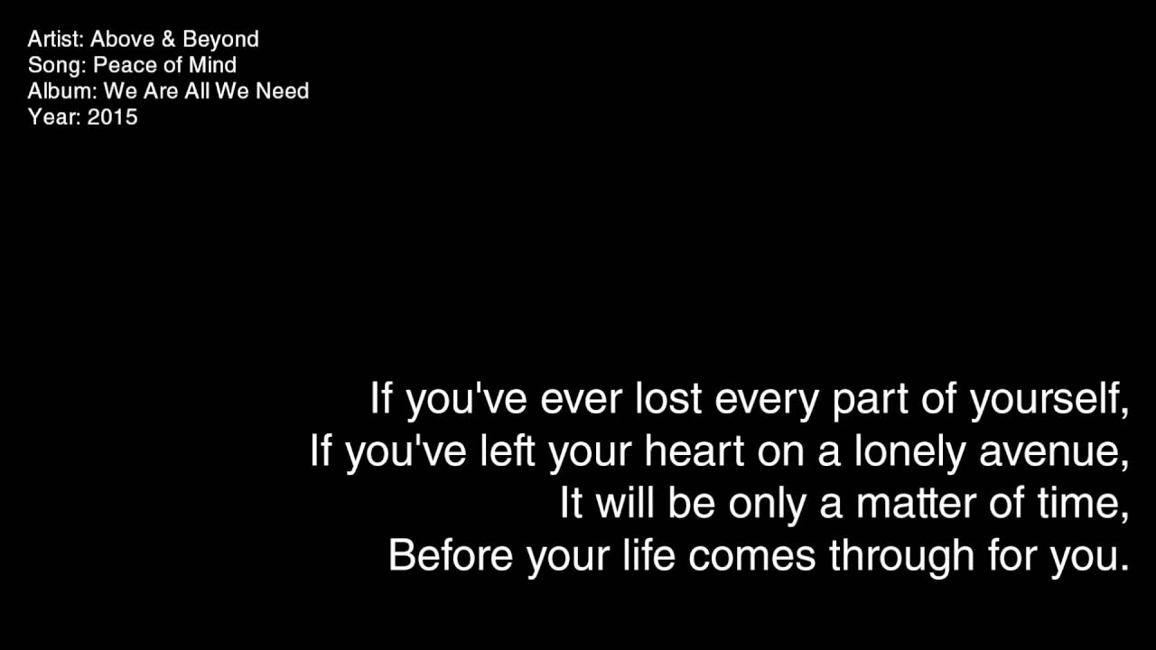 Above & Beyond - Peace of Mind - YouTube