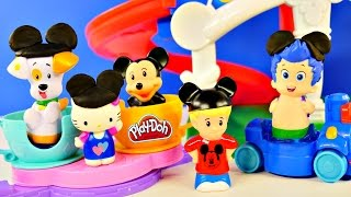 Day At Disney Mickey Mouse Theme Park Rides Songs + Play Doh Bubble Guppies Peppa Pig Hello Kitty