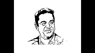 How to Draw Kamal Haasan face pencil drawing step by step