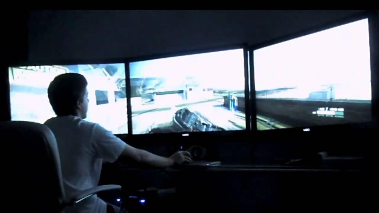 Crysis 2 on 3 42 inch Monitors. Nvidia Surround | FunnyDog.TV