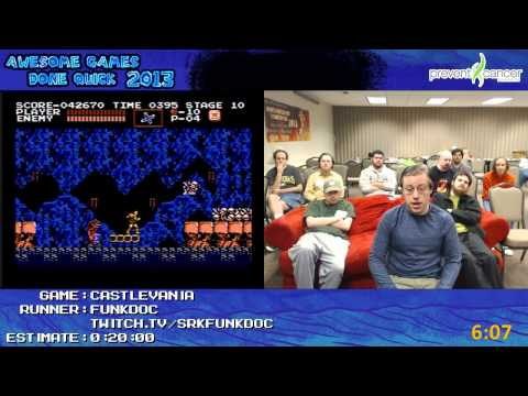 Castlevania NES: Speed Run in 0:13:17 by Funkdoc at Awesome Games Done Quick 2013