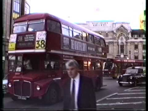 London Red Double Deck Buses (and London cabs) 1990.wmv