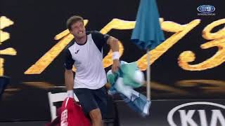 Pablo Carreno Busta madly throwing his bag and shouting at the Chair Umpire