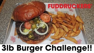 Fuddruckers' 3lb Burger Challenge On National Cheeseburger Day!!