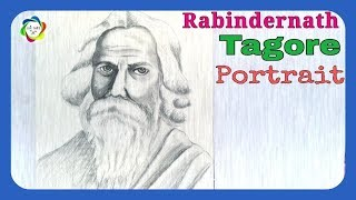 How to draw Rabindranath tagore very easy|| Rabindranath Tagore Portrait|| srk arts||