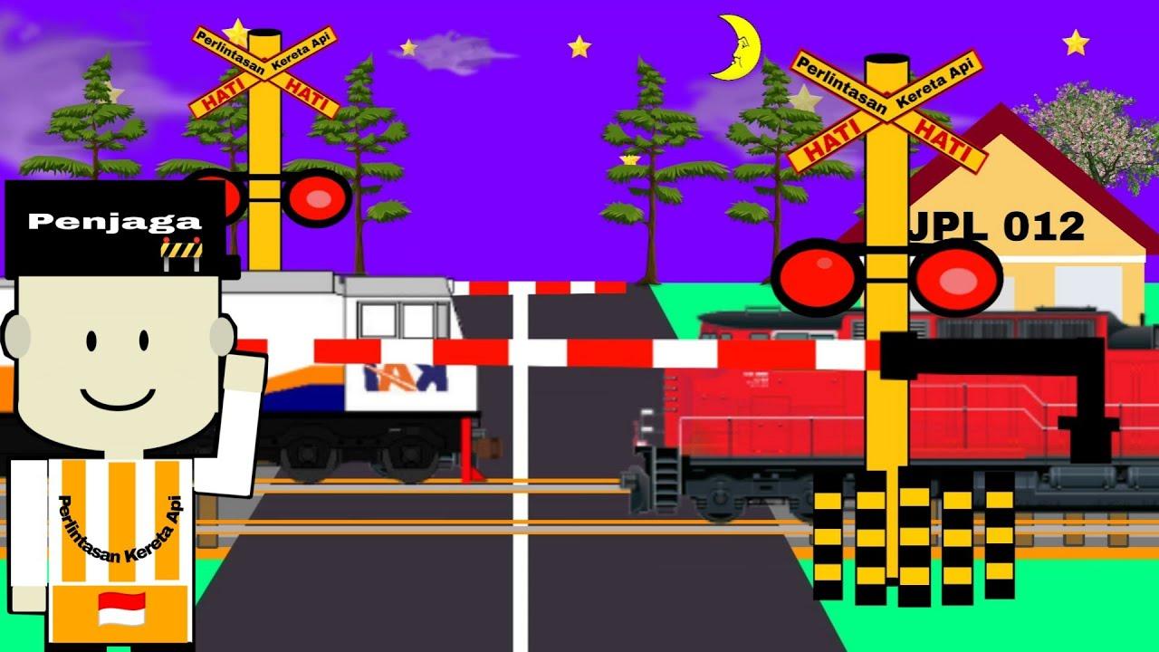 Download Disapa bapak penjaga palang pintu perlintasan kereta api   Animasi kartun lucu kereta api indonesia