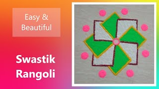 Swastik Rangoli for Diwali - Easy and Simple