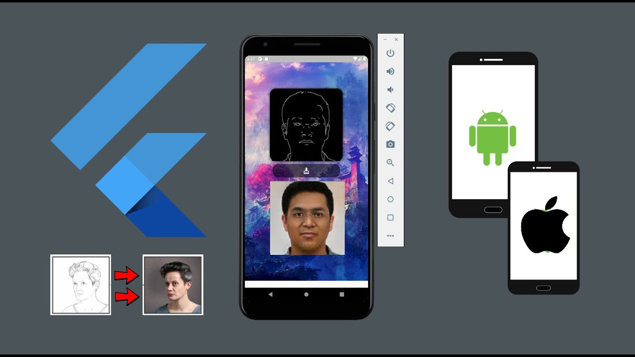 Flutter Android + iOS Sketch to Human Face Generator - AI Pix2Pix Drawing to Real Life Generator App