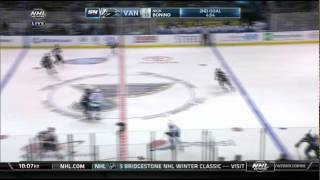 Nick Bonino short side wrister goal 2-1 Vancouver Canucks vs St. Louis Blues Oct  23 2014 NHL hockey