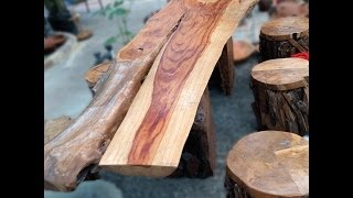 Timber Bench + 6 Stools