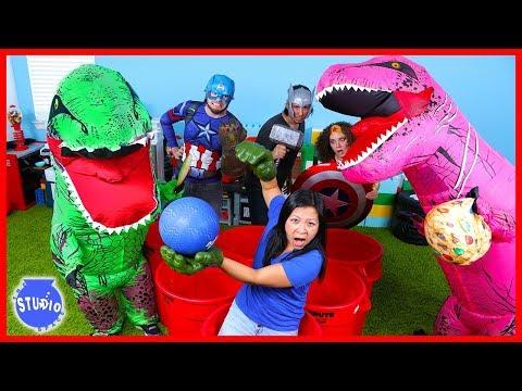 Marvel Avengers Superhero and Giant Dinosaur T-Rex Pong Challenge Boys Vs. Girls