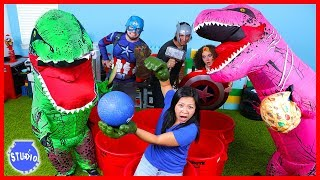 Marvel Avengers Superhero and Giant Dinosaur T-Rex Pong Challenge Boys Vs. Girls