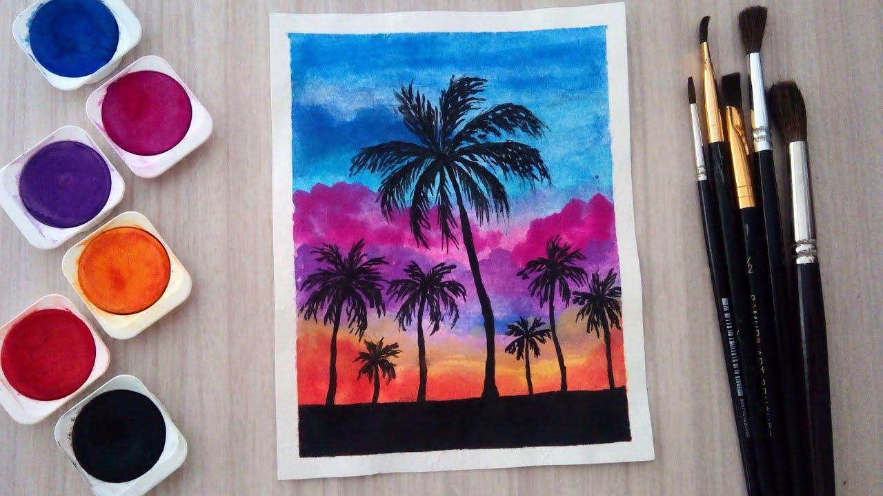 Günbatımı ve Palmiye resmi | Suluboya ile Kolay Resim yapımı | Sunset Drawing | Yaz Mevsimi