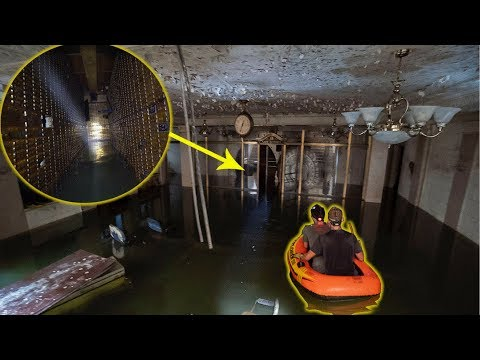 Rafting in Massive Flooded Abandoned 1920's Bank Vault