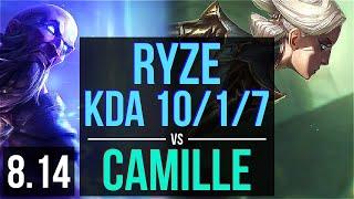 RYZE vs CAMILLE (TOP) ~ KDA 10/1/7, Dominating ~ Korea Master ~ Patch 8.14