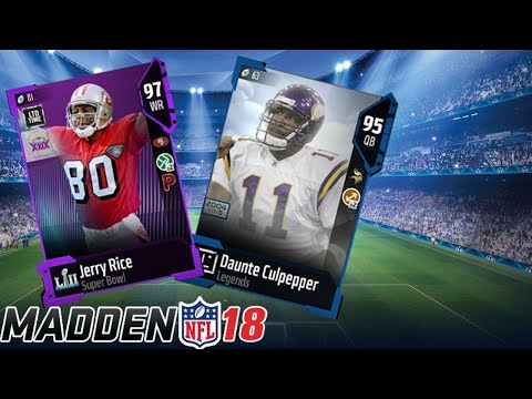 SUPER BOWL LTD JERRY RICE AND DAUNTE CULPEPPER PACK OPENING! | MADDEN 18 ULTIMATE TEAM