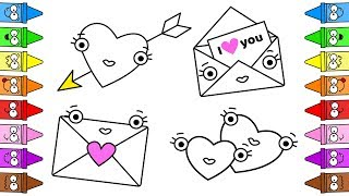 Valentines Day Coloring Pages | Drawing Hearts | How To Draw Hearts Step by Step  ❤