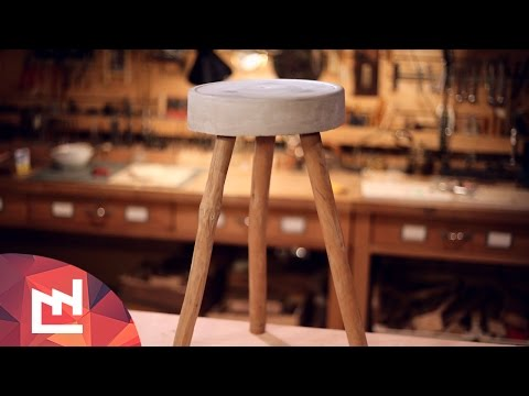 DIY Project : Make a cement and wood stool