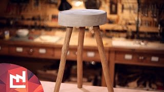 http://www.lafabriquediy.com In this DIY Project you find how to build a design stool with pieces of wood and cement for less than 5
