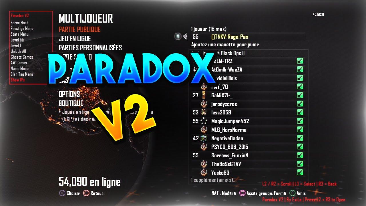 BO2/1 19] Paradox v2 Non-Host & Pre-Game SPRX Mod Menu +