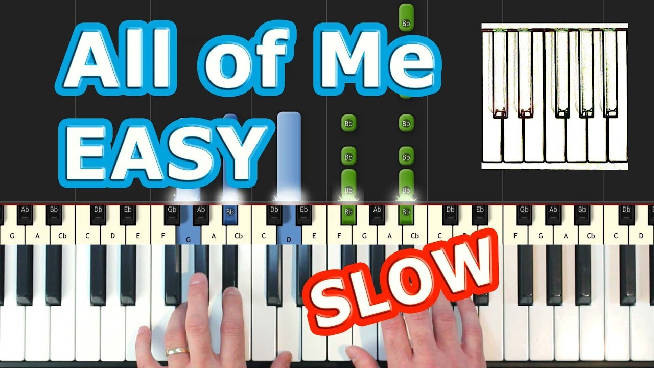 John Legend - All Of Me - EASY SLOW Piano Tutorial - How To Play (Synthesia)