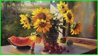 """Видео урок по живописи маслом """"Подсолнухи"""" (полная версия) +79857776200"""