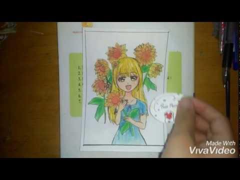 Vẽ Anime Girl và Hoa Hướng Dương (Fanart) [Riu Nanase]
