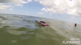 Traxxas M41 jumping some waves